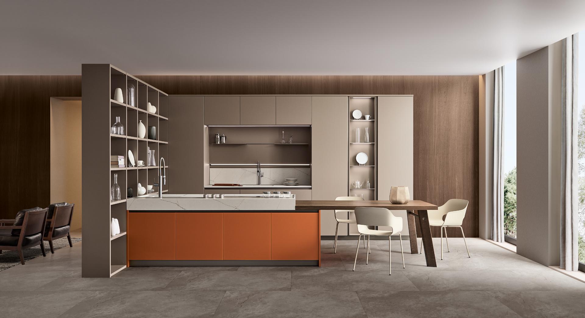 Modello Lounge — Versione: Vetro laccato opaco Arancio Brick / Laccato opaco Camoscio — Composizione: Con living