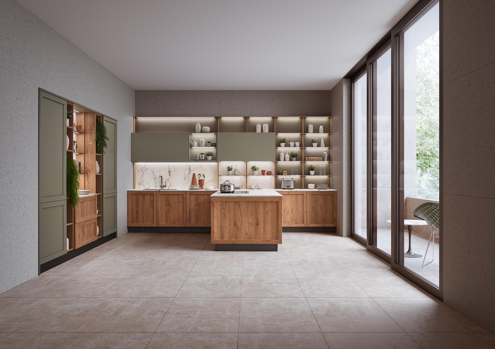 Modello Milano — Versione: Rovere Nodoso Chiaro / Laccato opaco Verde Lanza — Composizione: Penisola