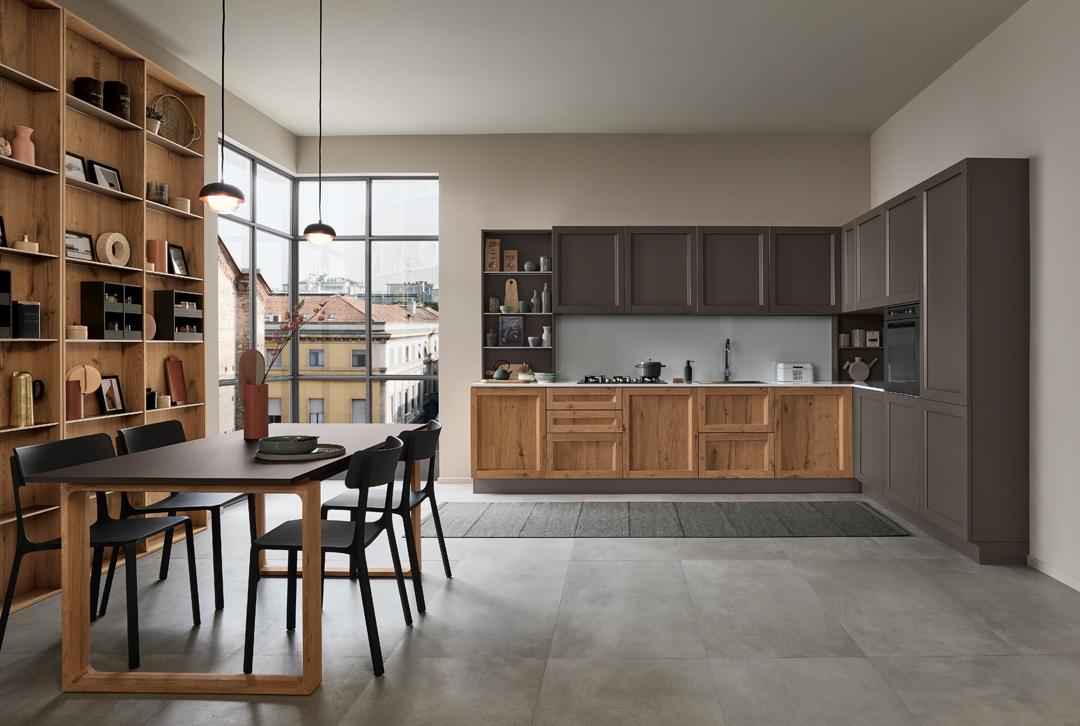 Modello Milano — Versione: Rovere Nodoso Chiaro e Laccato opaco a telaio Grigio Navigli — Composizione: Angolare