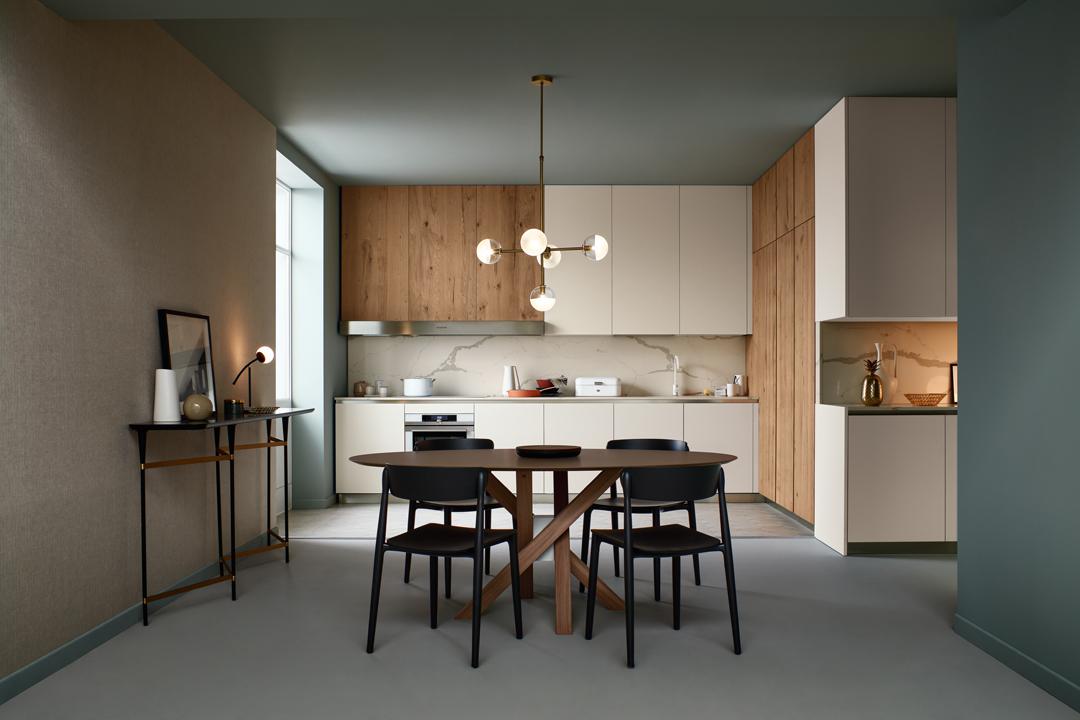 Modello Lounge — Versione: Fenix Bianco Kos e Rovere Nodoso Chiaro — Composizione: Angolare