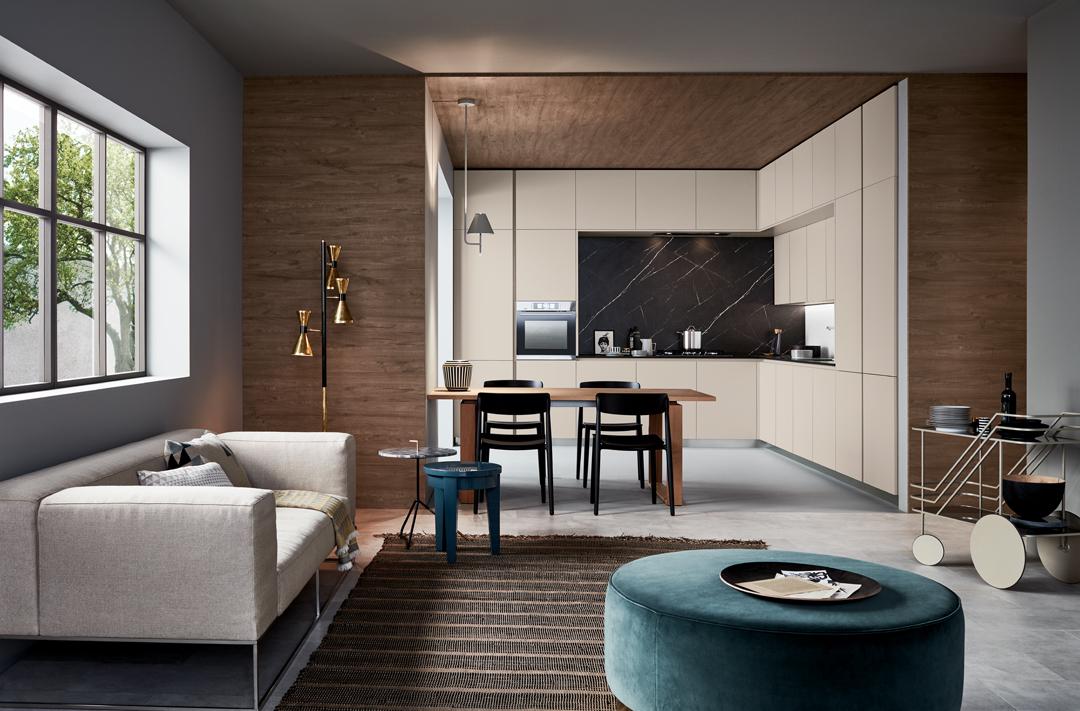Lounge — Versione: Laccato opaco Grigio Corda — Composizione: Angolare